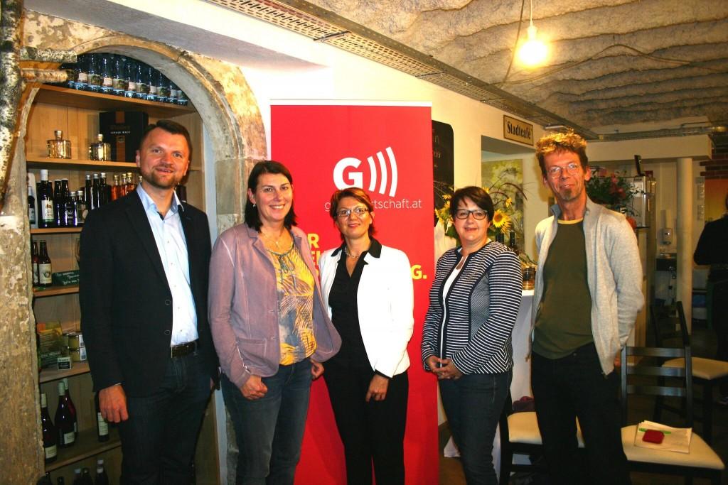Bildtext v.l.n.r.: Florian Wakolbinger, Sabine Jungwirth, Walburga Fröhlich, Andrea Kern, Wolfgang Schmidt. C: Grüne Wirtschaft
